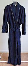Vintage CHRISTIAN DIOR Navy Blue Robe, Long Dressing Gown, Velvet/Velour M 1970s