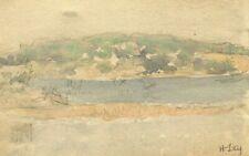 Dessin Ancien Original signé - Paysage, Lac, Montagne, Été