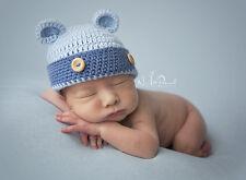 Hand Crochet Knitted Baby Hat Teddy Bear Chunky Photo Prop Boy Blue Newborn-6M