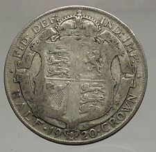 1920 Great Britain United Kingdom UK King GEORGE V Silver Half Crown Coin i56660