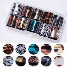 10 Pcs Holographic Nail Foil Set Transparent AB Color Nail Art Transfer Sticker