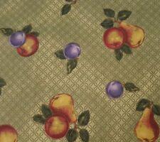Plum Pear Apple Fruit Print BTY VIP Cranston Green Background 100% Cotton