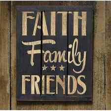 """Black Painted Wooden 3-Panel Sign """"Faith Family Friends"""""""