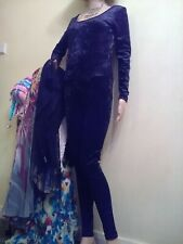 Ladies black crushed velvet size 12 stretchy jump suit by New Look. New.