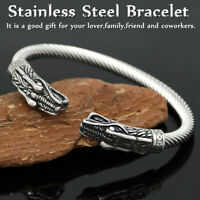 Men's Norse Viking Dragon Cuff Bangle Stainless Steel Bracelet Adjustable   C