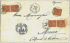 ITALIA REGNO:  Sassone  T15 coppia X 2 + singolo su CIRCOLARE da Soncino 1890