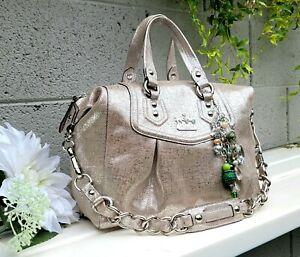 New Coach LTD ED metallic Madison audrey 14594 crackle Leather Shoulder purse