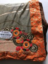 India Sari Saree NWT ORANGE BROWN MOTIF Golden Lycra GEORGETTE W/BLOUSE-USA SHIP