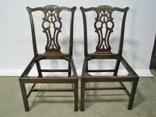 Pair of Vintage Solid Mahogany Chippendale Style Chairs; Beautifully Hand Carved