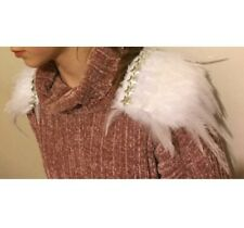 White Feather And Silver Star Shoulder Pads with clips, epaulettes
