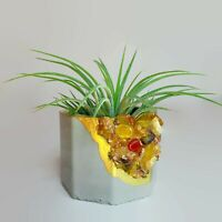 Condition is New MADE WITH LOVE Air Plant Holder Concrete tempered glass crystals Planter Succulent Glass Crystal Planter