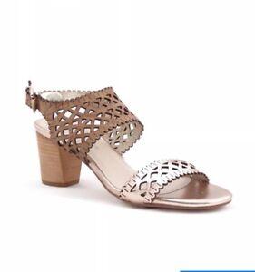 Django Juliette Leather Sandals Caviar Tan And Gold Size 39 New RRP $169.95 #4