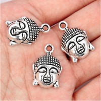 10Pc Lucky Buddha Head Tibetan Silver Bead Charms Pendants DIY Bracelet Necklace