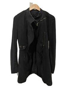Diesel Denim Black Leather Jacket Size 40 / AUS 12