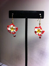 Red Poly Clay Flower Earrings Hook Earrings/Red Flower gold plate hook pendant