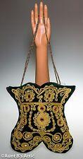 Purse Renaissance Style Dark Green Velvet And Gold Braid Cloth Handbag