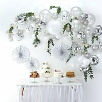 Silver Balloon Garland Arch wedding bride engage baby birthday confetti DIY gift