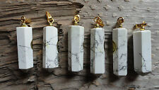 "Point set #8 White Howlite (pkg 6) Beautiful Point Pendant stone set 1"" long"