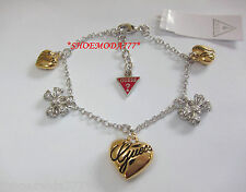 GUESS Exclusive Bow Heart Charm Bracelet Rhinestones G Logo Gift Bag Silver Gold