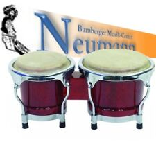 "Mini Bongo Set 4""+ 5"" weinrot Holzkessel mit Zwei Naturfelle"