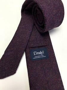 Drake's NWOT Purple 100% Wool Mens Neck Tie Handmade In England