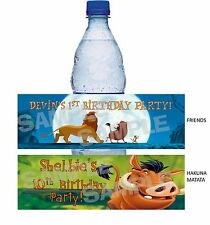 Personalized LION KING Birthday Party waterbottle label wrapper SIMBA