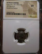 ROMAN EMPIRE: AR DENARIUS - AD 198-217 - CARACALLA - NGC VF - Issued as Caesar