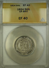1824 Great Britain Silver Shilling Coin ANACS EF-40