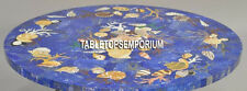30'' Blue Marble Coffee Table Top Semi Precious Inlay Marquetry Gemstone Decor