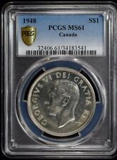1948 CANADA SILVER $1 EXPLORER DOLLAR PCGS CERTIFIED MS 61 MINT STATE (541)