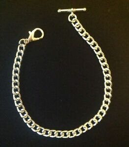 1 x Brand new silver coloured Albert pocket watch chain with clasp and t-bar