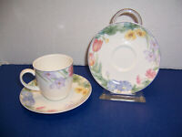 Mikasa Optima Spring Legacy 1 Cup & 2 New Saucers (NWT) Pastel Flowers Beautiful