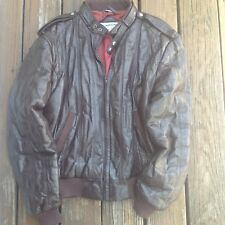 Vtg Brown Leather Mens Members Only Bomber Jacket 44 L Coat Zip Front 80s 90s