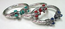 Rare! Turquoise,Red Coral & Lapis Lazuli Gemstone Silver Plated 3 Pcs Bangle