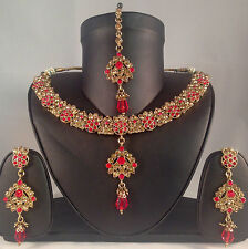 Gold & Red Indian Fashion Jewellery,Necklace Earring & Tikka set SV14-0030