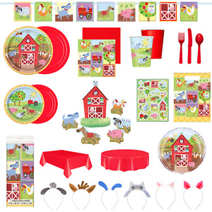 Farm Party Tableware Decorations Balloons Plates Cup Napkin Game Banners Sticker