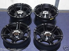 "14"" POL. SPORTSMAN XP850 ALUMINUM ATV WHEELS NEW SET 4 LIFE WARRANTY SS212 BLK"
