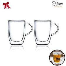 Home Fashions 17 Ounces Double Wall Insulated Glasses Coffee Glass Mug, Set of 2