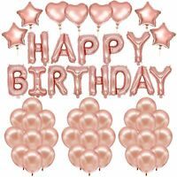 51pcs Happy Birthday Decorations Rose Gold Birthday Confetti Latex Balloons