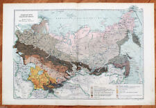 1914 Imperial Russian Genuine Color Antique Map of Grounds of Russia