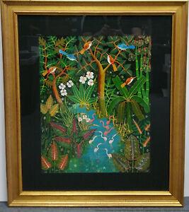 Vintage Listed Artist Aland Estime Tropical Haitian Landscape Oil Painting