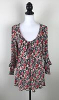 QUIZZ AGAIN  Pink Flowery Tunic Top 3/4 Ruffle Sleeves LARGE Viscose Blouse