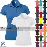 WOMENS POLO Shirts Premium Soft Short Sleeve Casual Uniform Extra Slim Tee