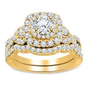 2.44 Ct Diamond Round Cut Engagement Band Wedding Bridal Ring Set 10k Y/Gold Fn