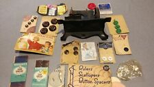 Lot of vintage sewing items including a vintage child's sewing machine