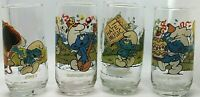 Smurf Glass Tumbler Peyo 1983 Harmony, 2 Grouchy, Jokey & Baker Smurf set of 5