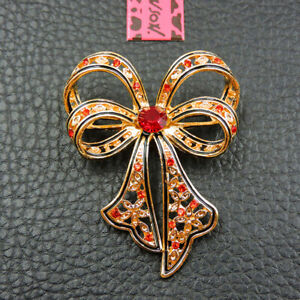 New Betsey Johnson Red Rhinestone Exquisite Bowknot Crystal Charm Brooch Pin
