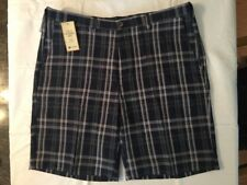 Mens Haggar Cool 18 Performance Shorts (Moisture Wicking) Blue Plaid 40W NEW