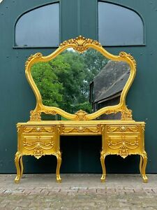 Beautiful Gold Dressing Table, Vanity Table in Louis XVI Style With Rose Details