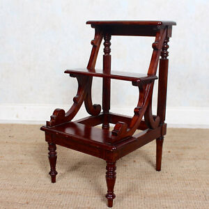 Mahogany Library Steps Carved Antique Vintage Solid